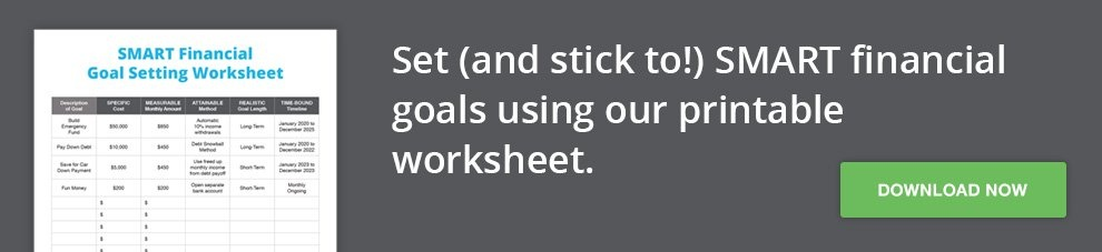 Download our SMART Financial Goal Setting Worksheet
