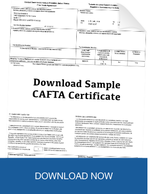 Download Sample CAFTA-DR Certificate of Origin