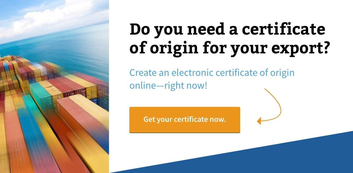 Electronic Certificate of Origin - Shipping Solutions