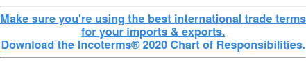 Make sure you're using the best international trade terms for your imports & exports. Download the Incoterms 2020 Chart of Responsibilities.