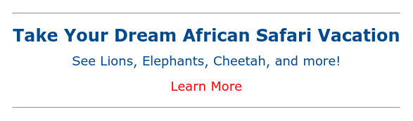 Take Your Dream African Safari Vacation See Lions, Elephants, Cheetah, and more! Learn More