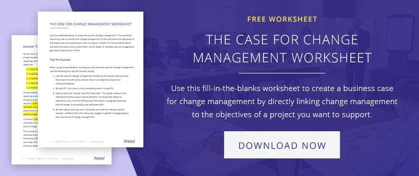 business case for change management worksheet