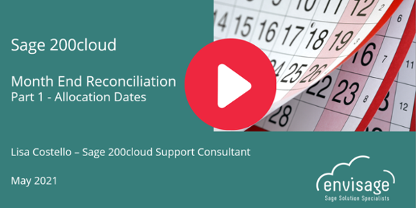 Sage 200cloud Month End - Allocation Dates