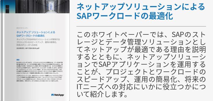 ネットアップソリューションによるSAPワークロードの最適化