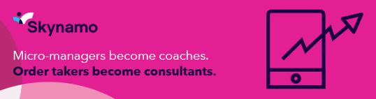pink Skynamo banner ad micro-managers become coaches