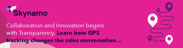 Skynamo GPS tracking sales app pink banner
