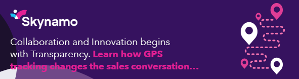 Skynamo GPS tracking sales app purple banner