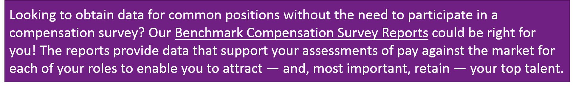 Benchmark Compensation Survey Reports CTA Image