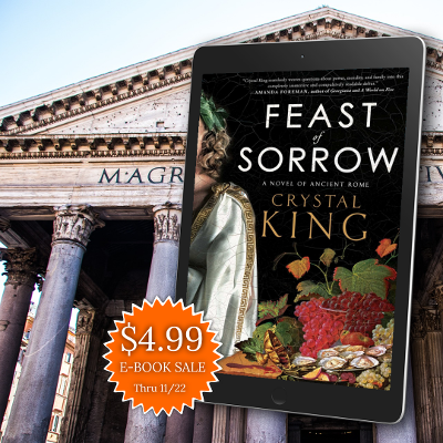 Feast of Sorrow book on an eReader against the backdrop of the Pantheon in Rome