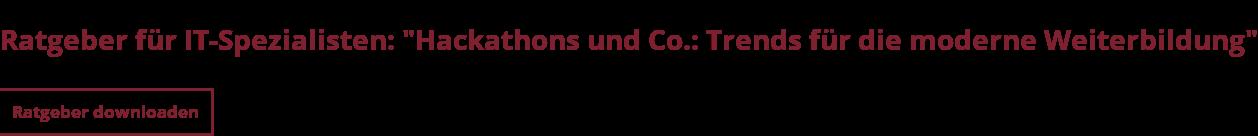 """Ratgeber für IT-Spezialisten: """"Hackathons und Co.: Trends für die moderne  Weiterbildung"""" Ratgeber downloaden"""