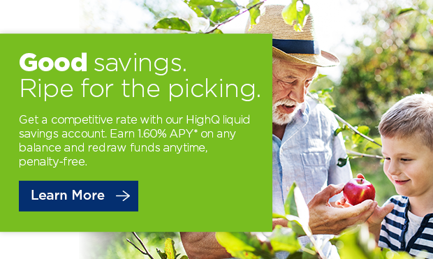 Good savings are in the air. Get 2.05%APY* on any balance with our HighQ liquid savings account. Start Saving ->