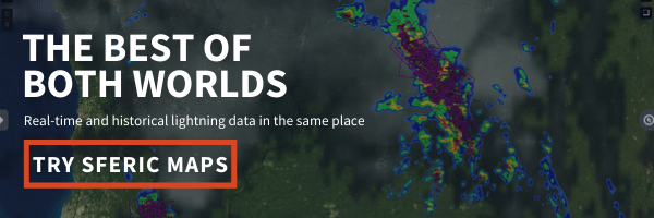 Click here to get a free trial of Sferic Maps and access real-time and historical lightning data