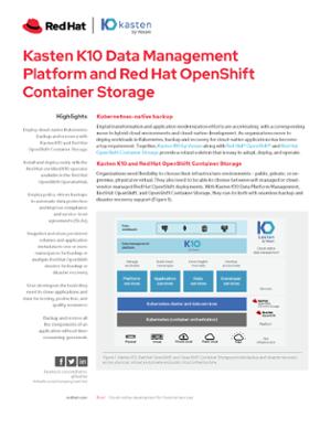 Solution Brief: Red Hat OpenShift Container Storage + Kasten K10