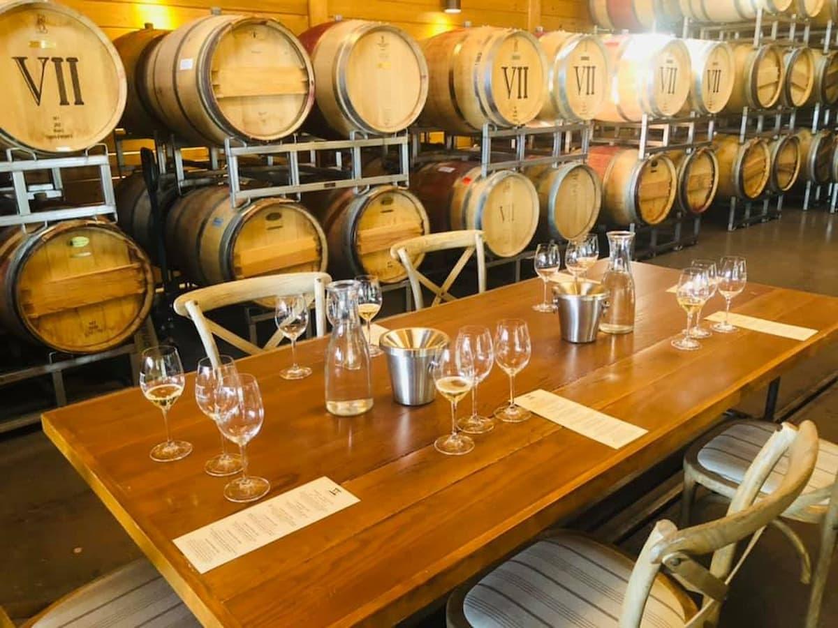 Barrel room at Septenary Vineyards