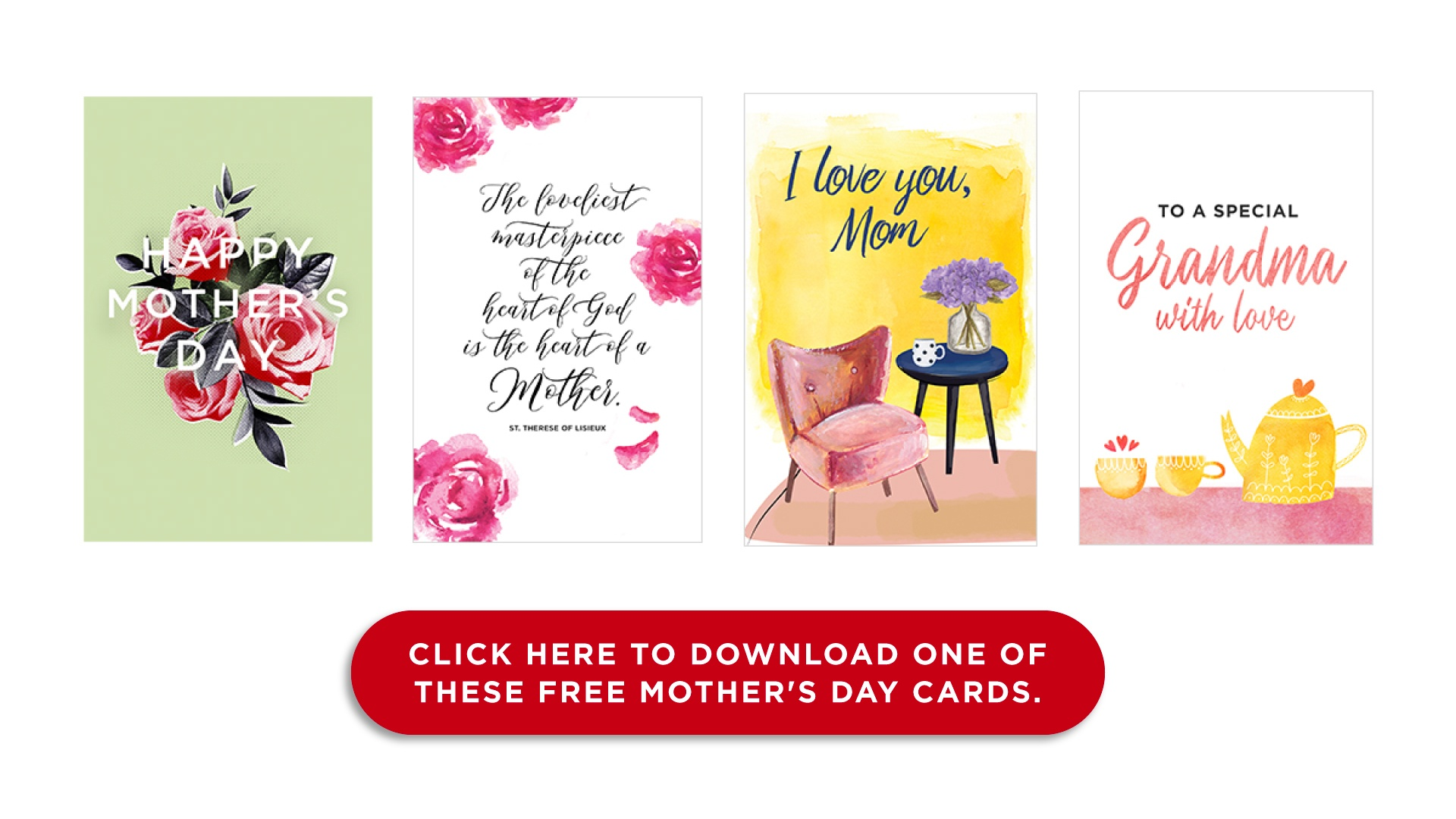 Click here to download one of these free Mother's Day cards.