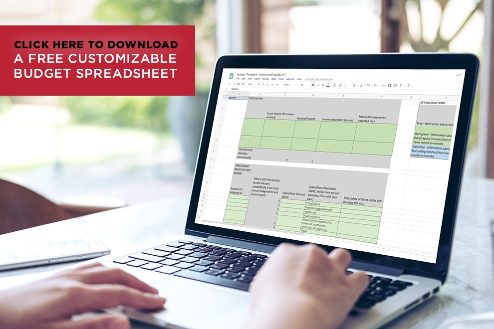 Click here to download a free customizable budget spreadsheet.