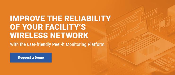 DAS monitoring platform, Peel-it, displayed on a white laptop with orange overlay