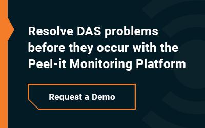 DAS monitoring against black and orange background