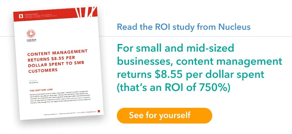 Content Management ROI for SMBs Nucleus report