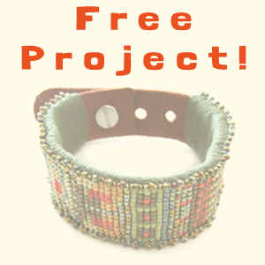 free project beaded leather cuff