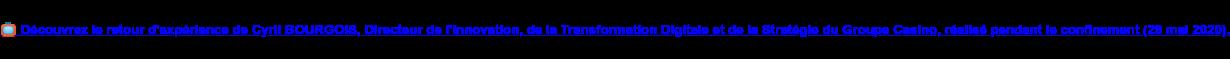 Découvrez le retour d'expérience de Cyril BOURGOIS, Directeur de  l'Innovation, de la Transformation Digitale et de la Stratégie du Groupe  Casino, réalisé pendant le confinement (29 mai 2020).