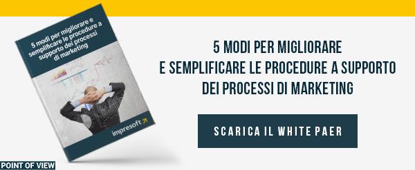 """CLICCA QUI per scaricare il White Paper: """"5 modi per migliorare i processi di marketing"""""""