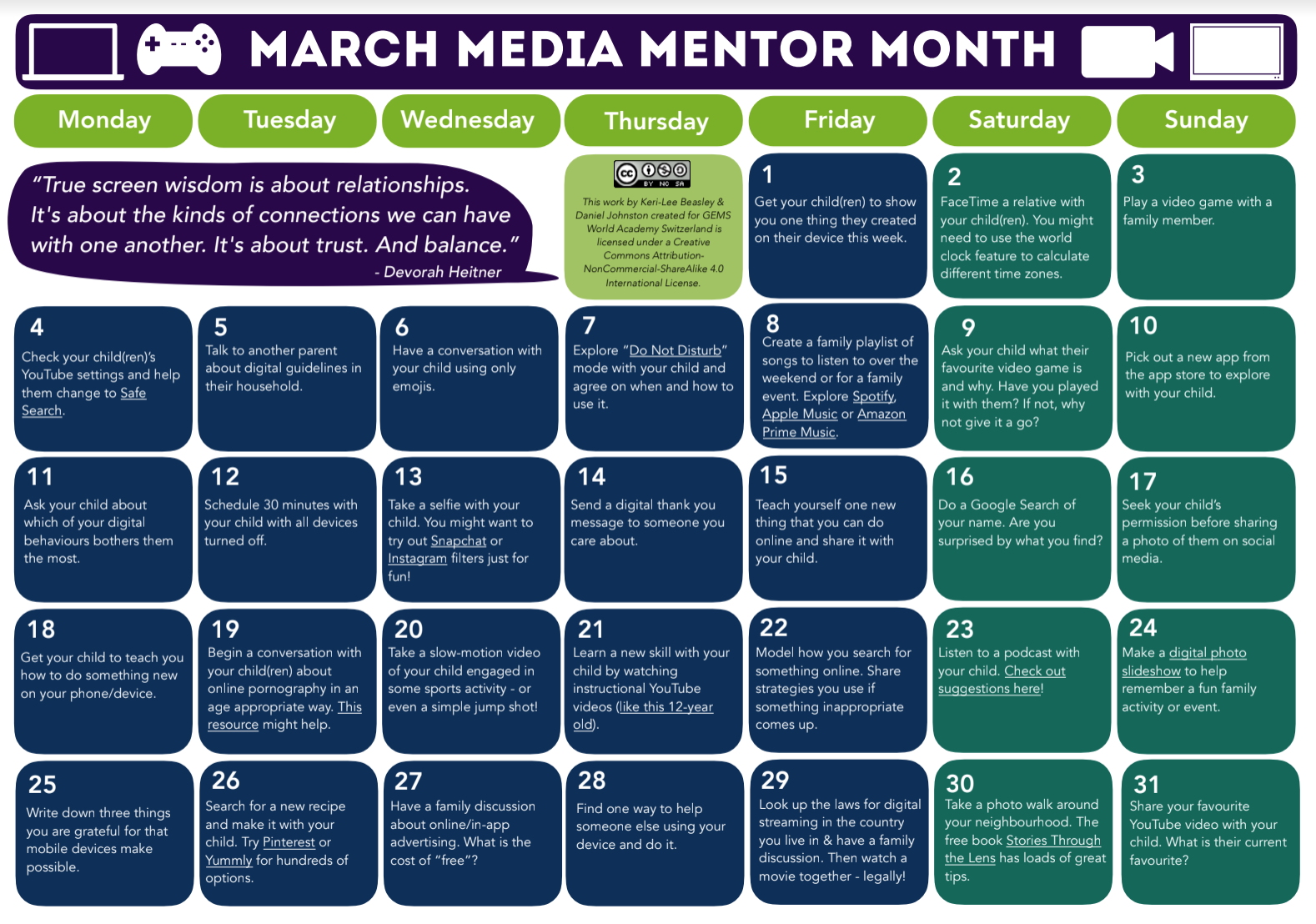 March Media Mentor Month Calendar Of Activities