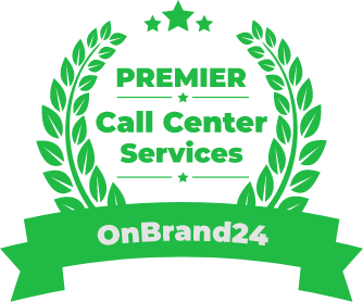 OnBrand24 Premier Call Center Services Green Badge of Customer Service Excellence