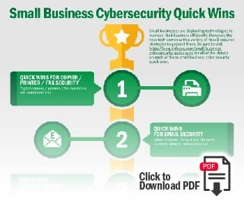 """Click to download a PDF of the """"Small Business Cybersecurity Quick Wins"""" Infographic"""