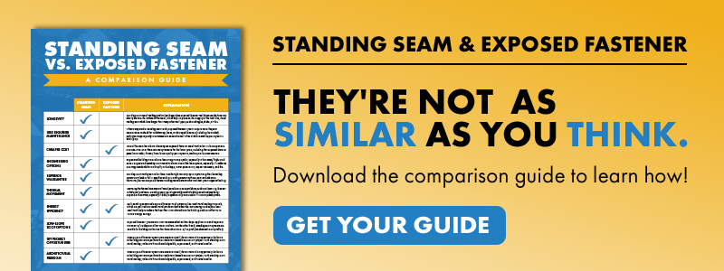 "Download the ""Standing Seam vs. Exposed Fastener: A Comparison Guide"" here!"