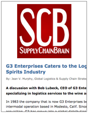 SCB G3 Enterprises Caters to the Logistics Needs of Wine/Spirits Industry