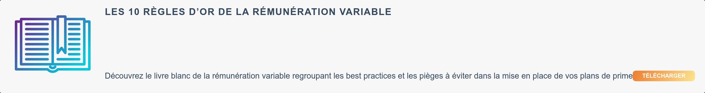 Les 10 règles d'or de la rémunération variable  Découvrez le livre blanc de la rémunération variable regroupant les best  practices et les pièges à éviter dans la mise en place de vos plans de prime  Télécharger