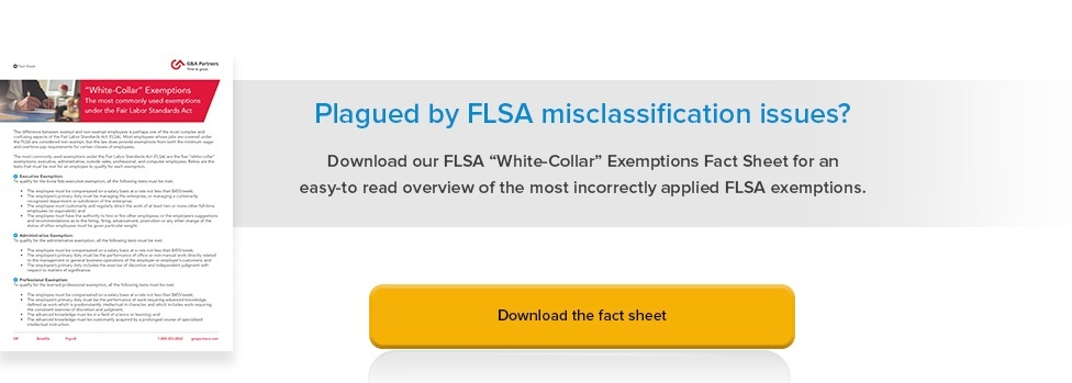 White Collar Exemptions For FLSA