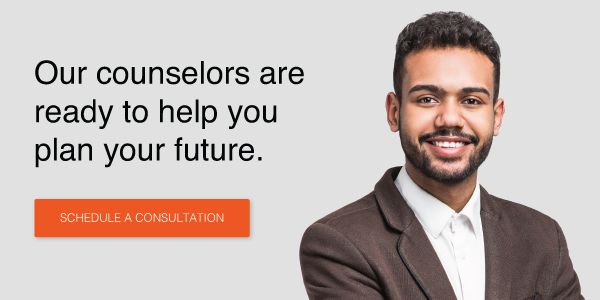 Our counselors are ready to help you plan your future. Speak to a counselor >>