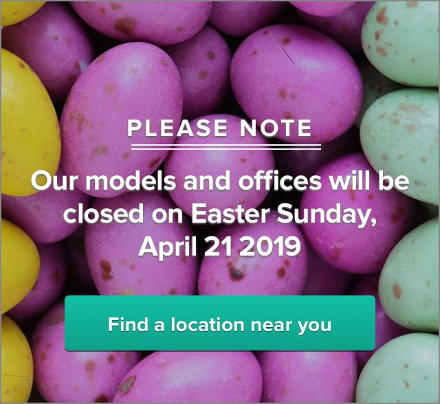Our models and offices will be  closed on Easter Sunday,  April 21 2019
