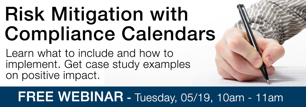 Risk mitigation with compliance calendars