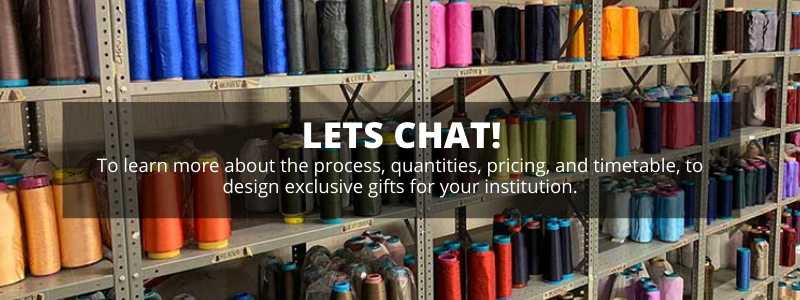 lets chat about our process quantities pricing and timetable to design exclusive gifts for your institution