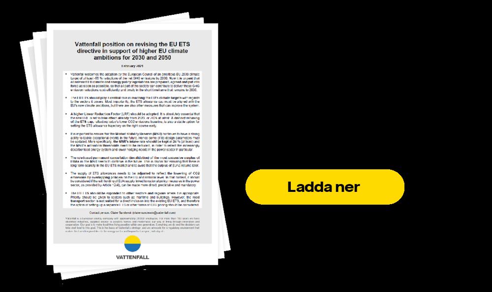Vattenfall group position om EU ETS