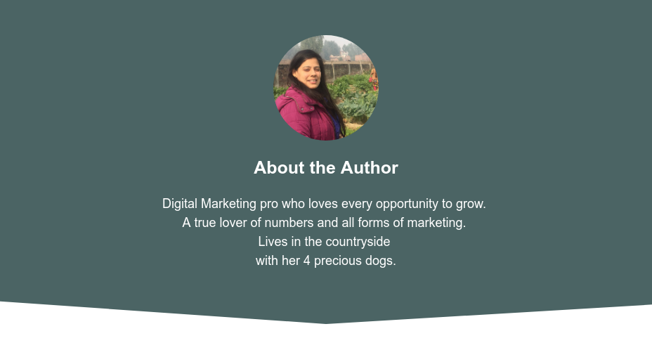 About the Author  Geetika is Digital Marketing Pro and Loves to Grow.  Anything which drives numbers keep her going forward. Yes!  All form of marketing drives numbers. Lives on the country side with 4 dogs.