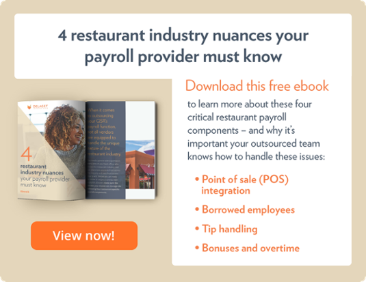 Download the ebook, '4 restaurant industry nuances your payroll provider must know'