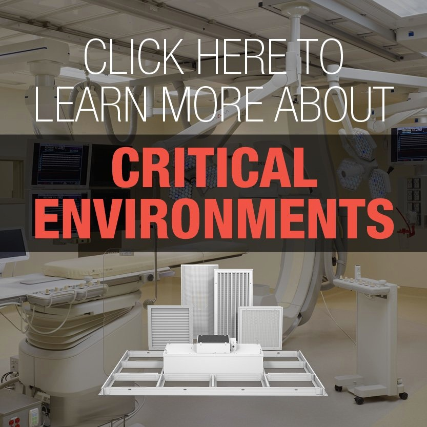 Collage of critical environment products over an image of an operating room