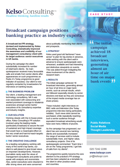 Management consultancy pr campaign case study