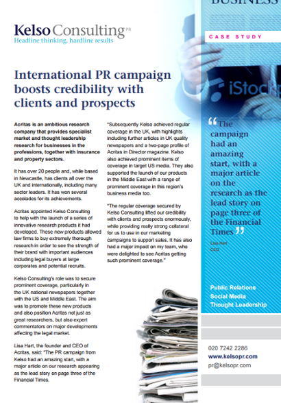 Public relations for research company
