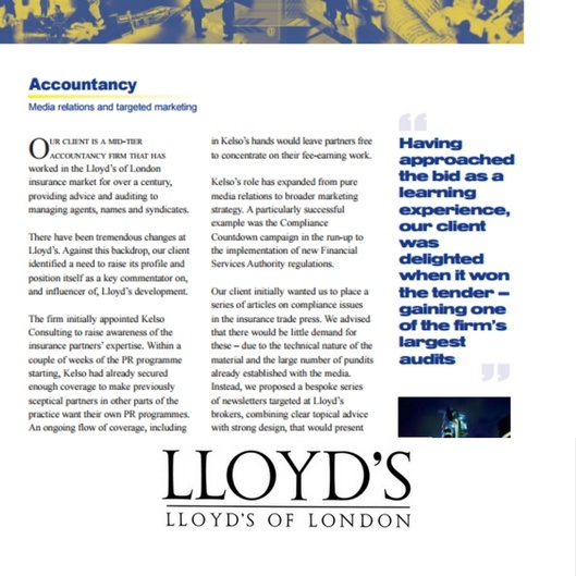 accountancy pr case study - Lloyd's of London insurance market