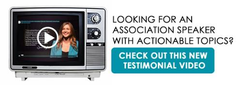 Watch this testimonial video for an association speaker with actionable topics.