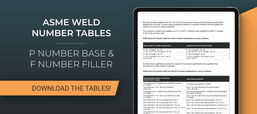 Download the ASME Weld Number Tables