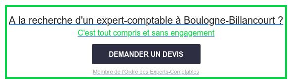 A la recherche d'un expert-comptable àBoulogne-Billancourt ?  C'est tout compris et sans engagement  Membre de l'Ordre des Experts-Comptables DEMANDER UN DEVIS
