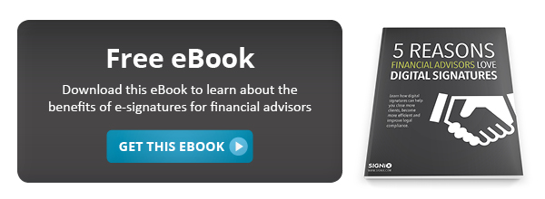 "Download our eBook ""5 Reasons Financial Advisors Love Digital Signatures"""