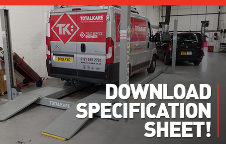 Download the Light Commercial Four Post Lift specification sheet