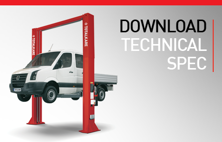 Download the TotalKare Two Post Lift technical specification sheet